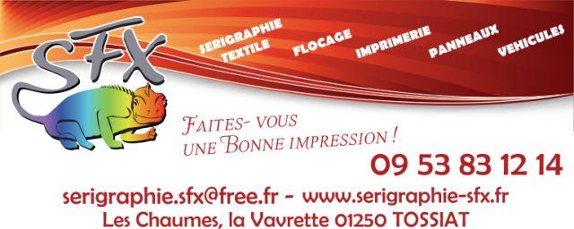 SFX : sérigraphie textile, flocage et covering, impression de panneaux à Tossiat dans l'Ain (01)