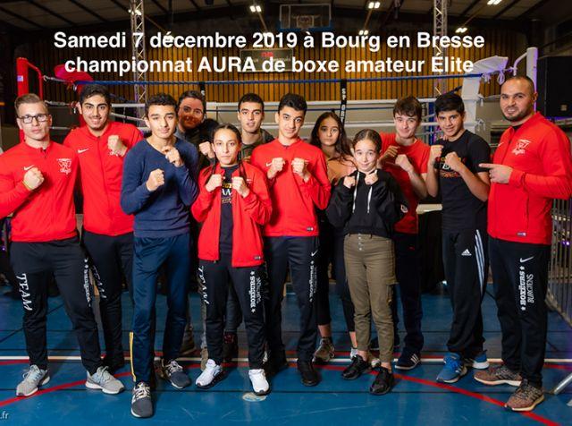 Championnat AURA de boxe amateur Élite, le samedi 7 décembre 2019 à Bourg-en-Bresse