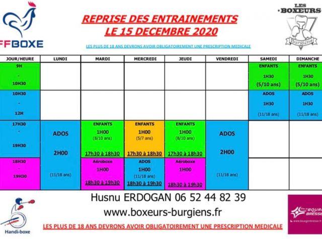 Reprise des entraînements au club de boxe des Boxeurs Burgiens dès le 15 décembre 2020